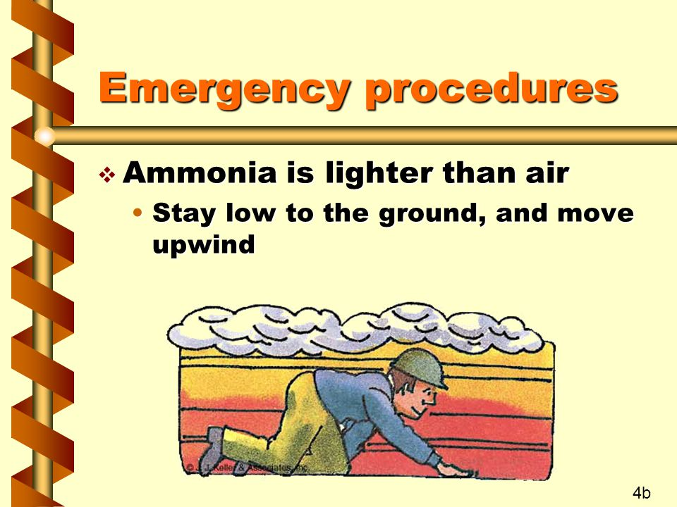 Emergency procedures v Ammonia is lighter than air Stay low to the ground, and move upwindStay low to the ground, and move upwind 4b