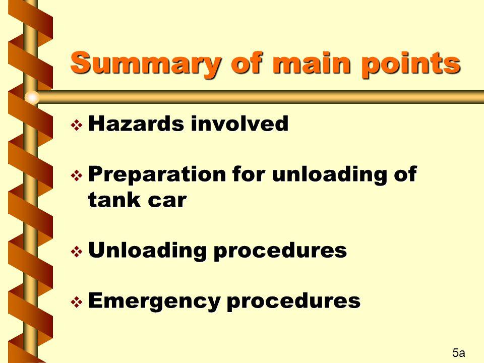 Summary of main points v Hazards involved v Preparation for unloading of tank car v Unloading procedures v Emergency procedures 5a