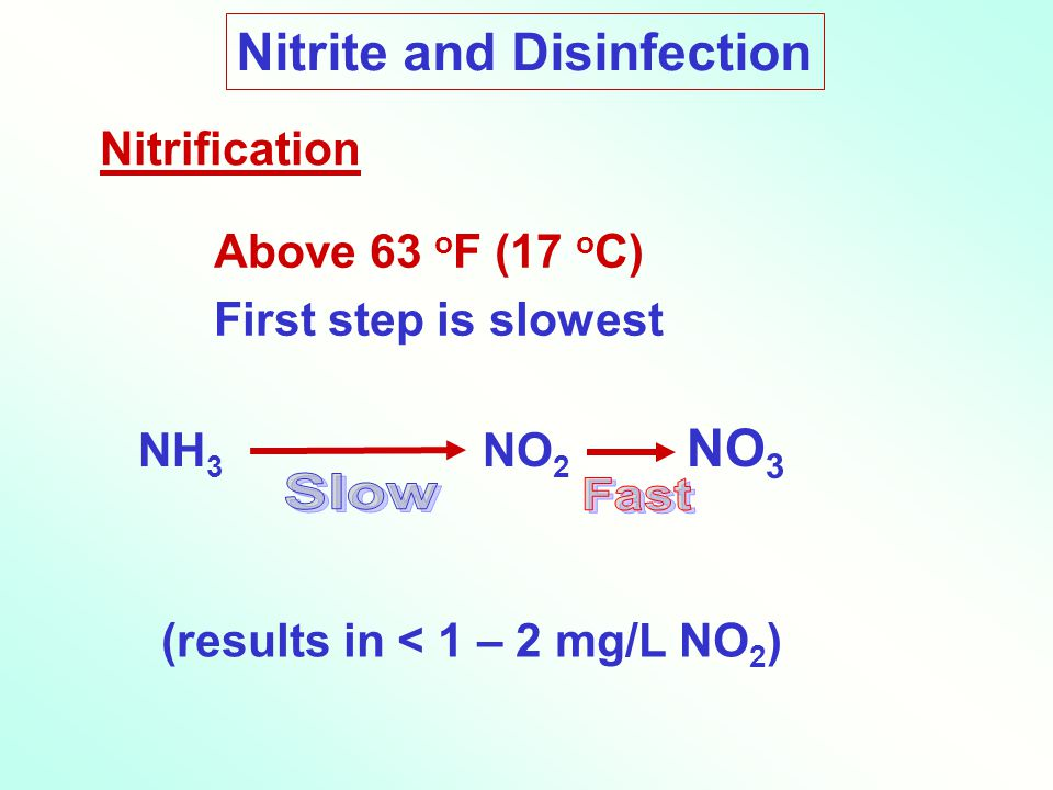 Nitrite and Disinfection Above 63 o F (17 o C) First step is slowest NH 3 NO 2 NO 3 Nitrification (results in < 1 – 2 mg/L NO 2 )