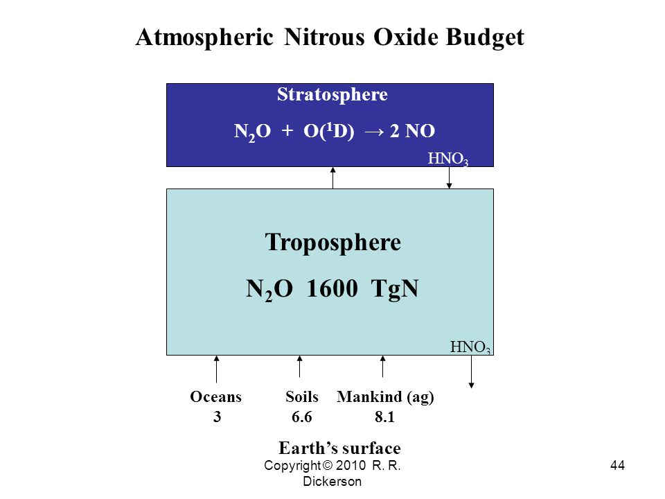 Copyright © 2010 R. R. Dickerson 44 Troposphere N 2 O 1600 TgN HNO 3 Earth's surface Stratosphere N 2 O + O( 1 D) → 2 NO Oceans 3 Soils 6.6 Mankind (a
