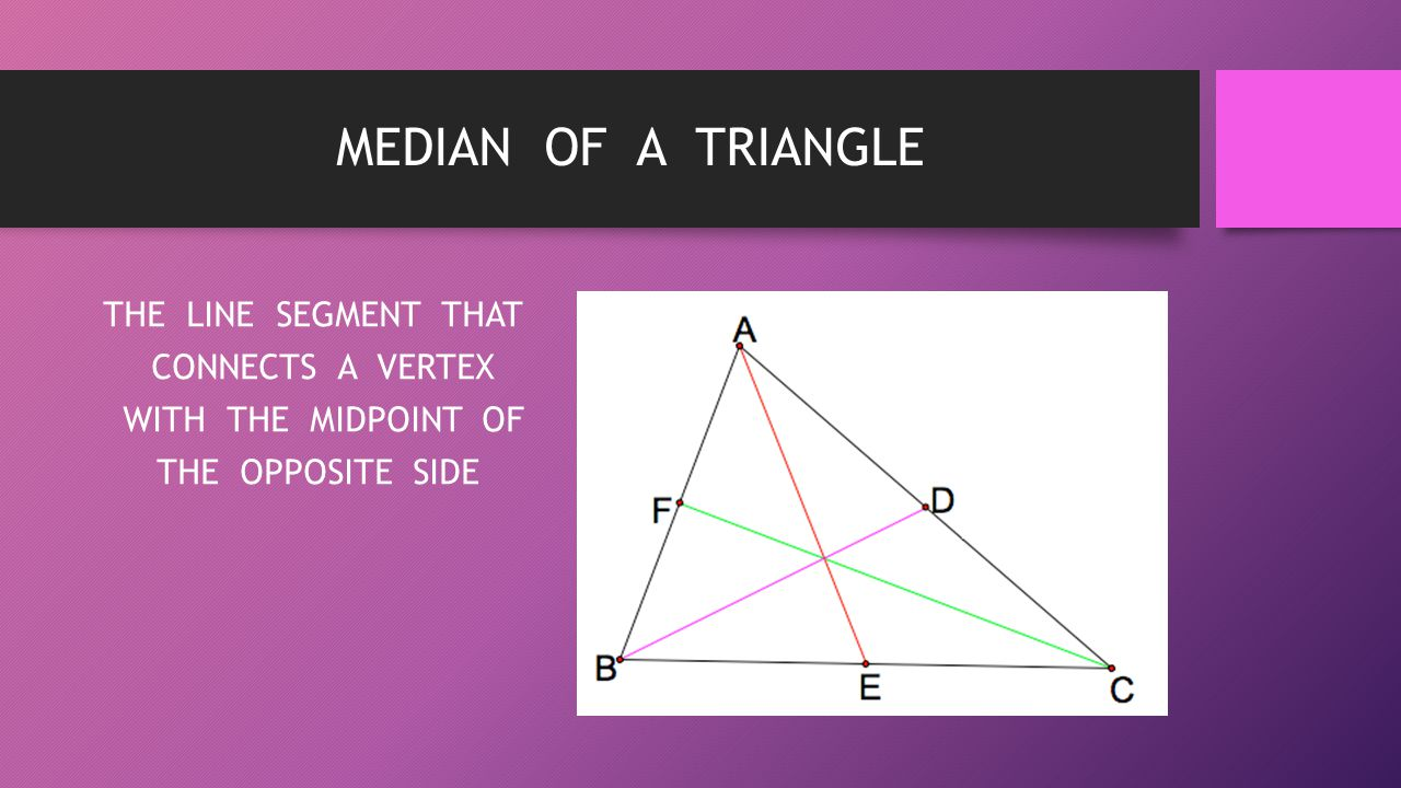 MEDIAN OF A TRIANGLE THE LINE SEGMENT THAT CONNECTS A VERTEX WITH THE MIDPOINT OF THE OPPOSITE SIDE