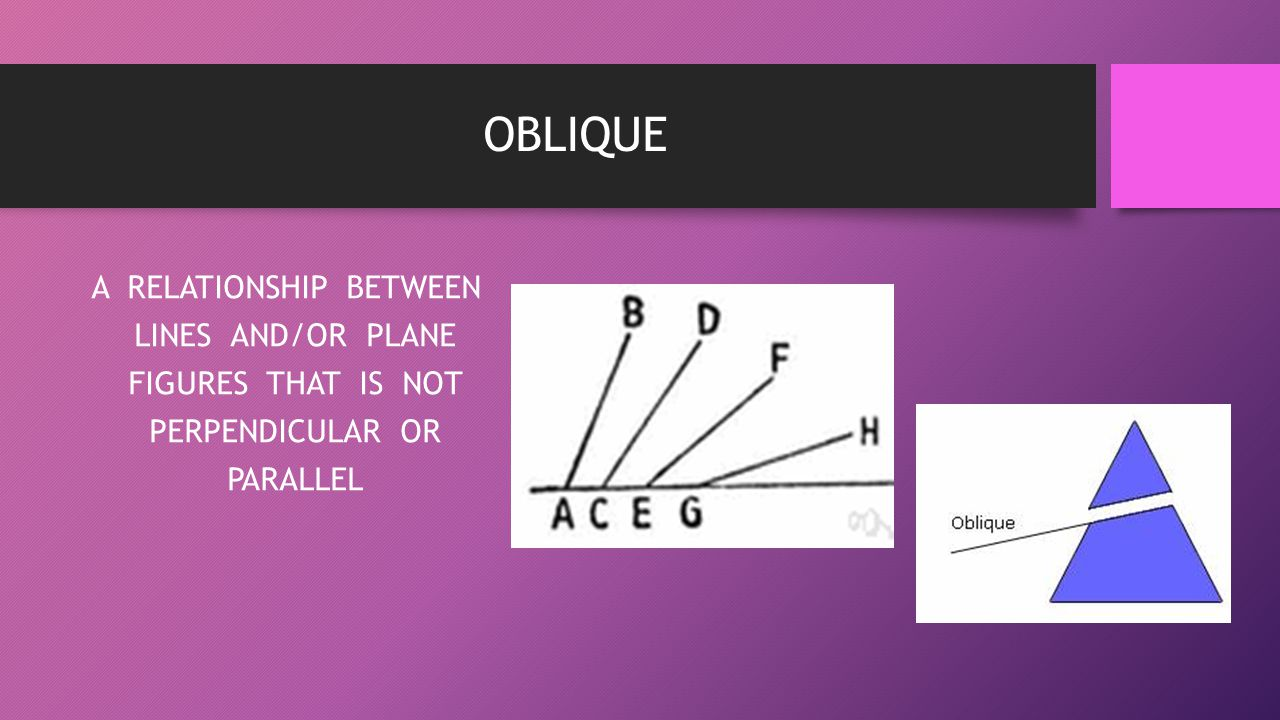 OBLIQUE A RELATIONSHIP BETWEEN LINES AND/OR PLANE FIGURES THAT IS NOT PERPENDICULAR OR PARALLEL