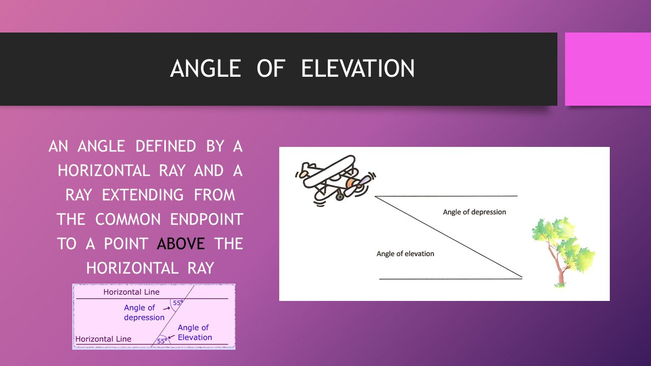 ANGLE OF ELEVATION AN ANGLE DEFINED BY A HORIZONTAL RAY AND A RAY EXTENDING FROM THE COMMON ENDPOINT TO A POINT ABOVE THE HORIZONTAL RAY