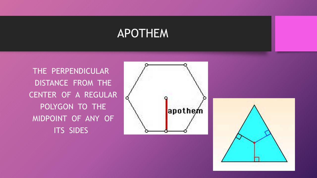 APOTHEM THE PERPENDICULAR DISTANCE FROM THE CENTER OF A REGULAR POLYGON TO THE MIDPOINT OF ANY OF ITS SIDES