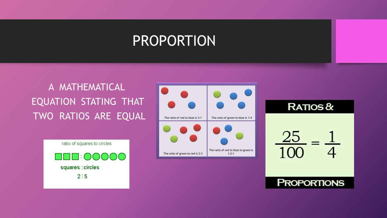 PROPORTION A MATHEMATICAL EQUATION STATING THAT TWO RATIOS ARE EQUAL
