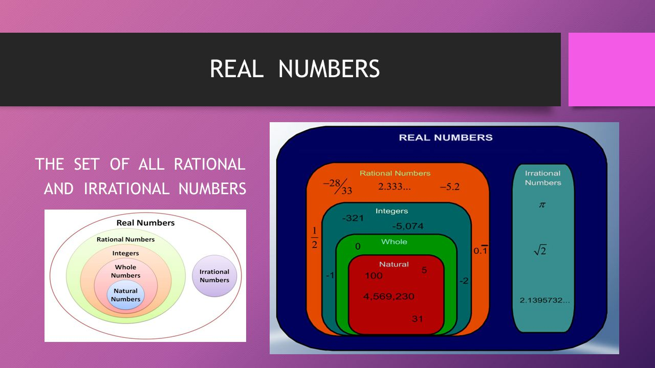 REAL NUMBERS THE SET OF ALL RATIONAL AND IRRATIONAL NUMBERS