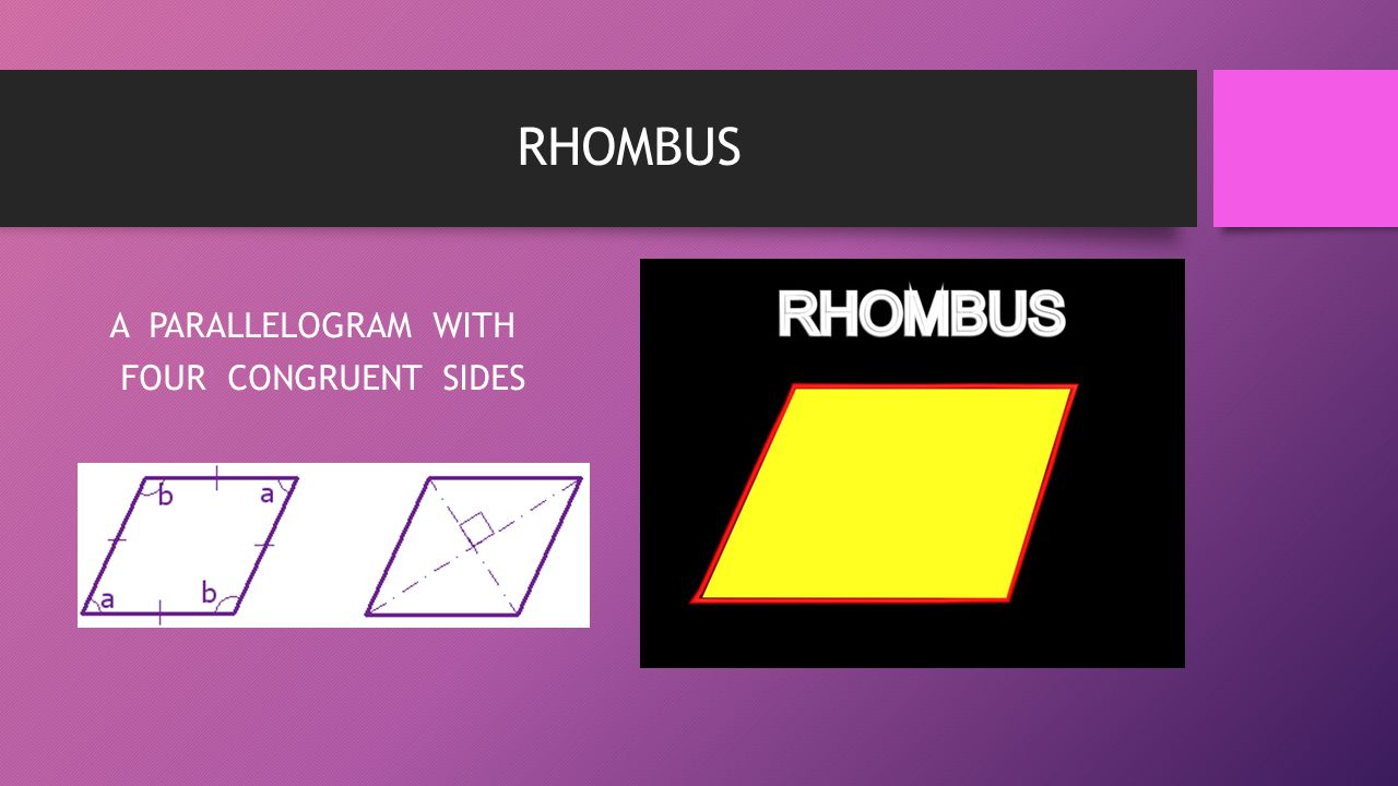 RHOMBUS A PARALLELOGRAM WITH FOUR CONGRUENT SIDES