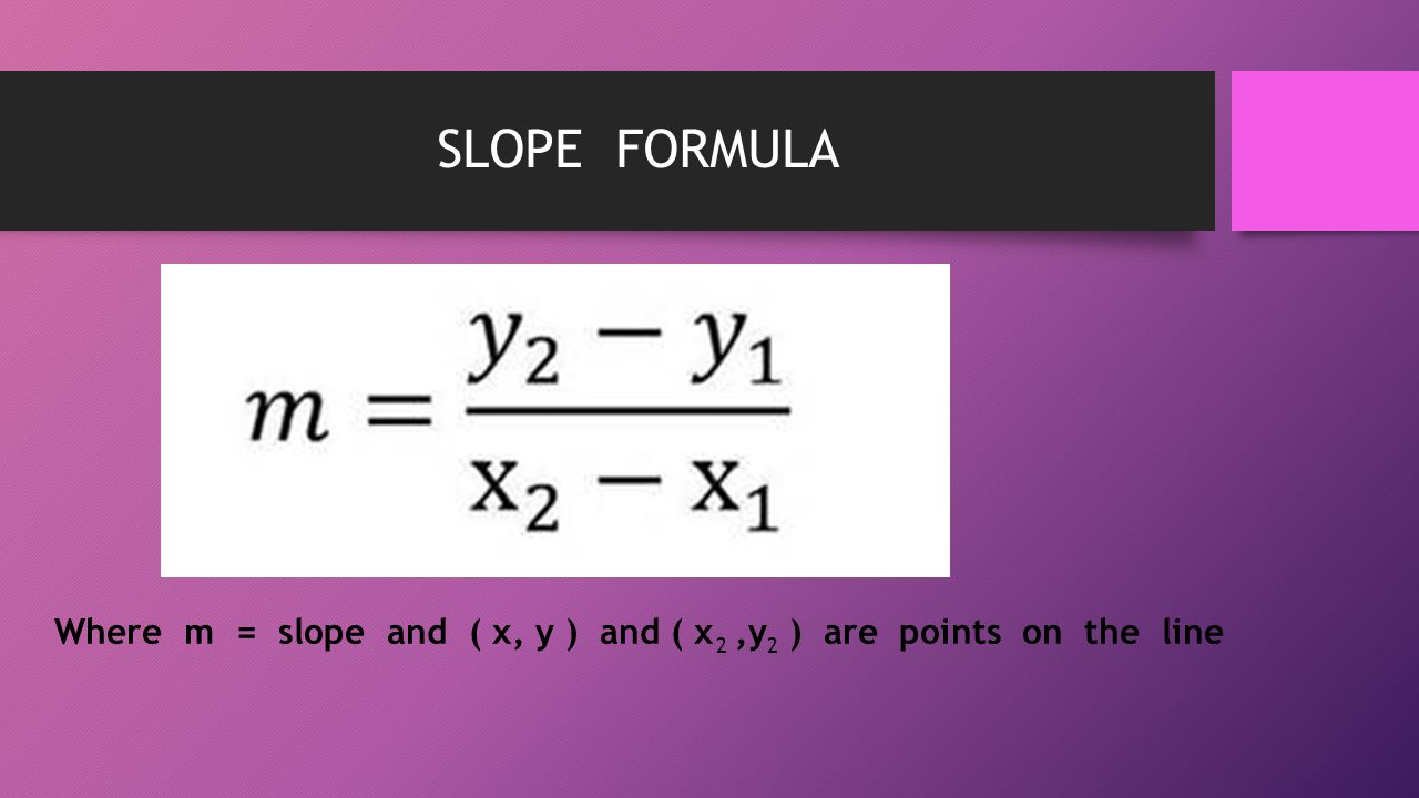 SLOPE FORMULA Where m = slope and ( x, y ) and ( x,y ) are points on the line 22