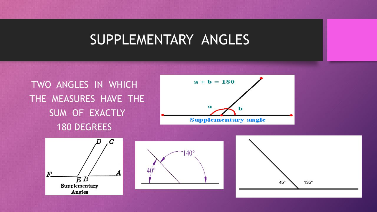 SUPPLEMENTARY ANGLES TWO ANGLES IN WHICH THE MEASURES HAVE THE SUM OF EXACTLY 180 DEGREES