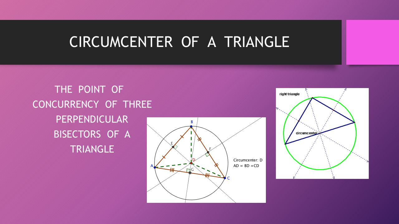 CIRCUMCENTER OF A TRIANGLE THE POINT OF CONCURRENCY OF THREE PERPENDICULAR BISECTORS OF A TRIANGLE