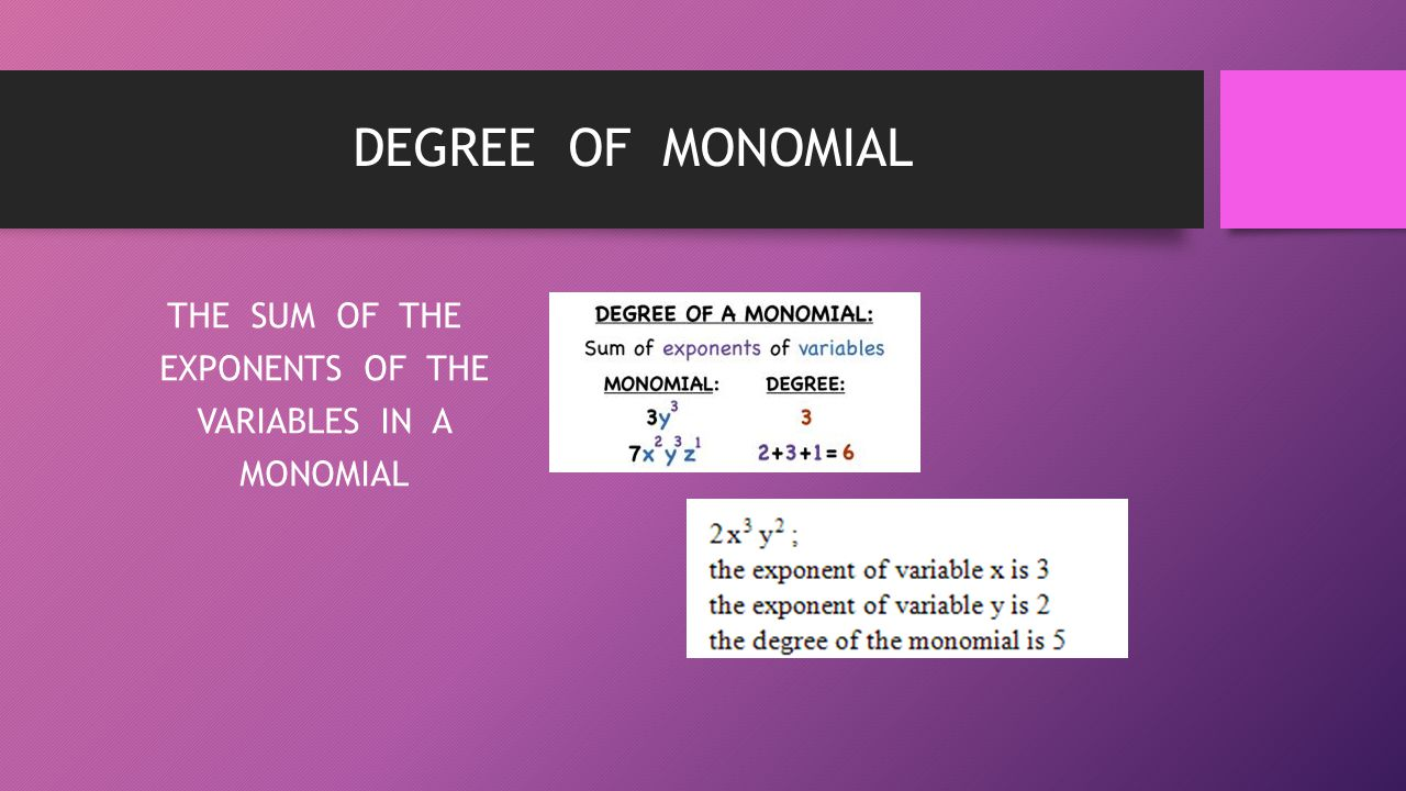 DEGREE OF MONOMIAL THE SUM OF THE EXPONENTS OF THE VARIABLES IN A MONOMIAL