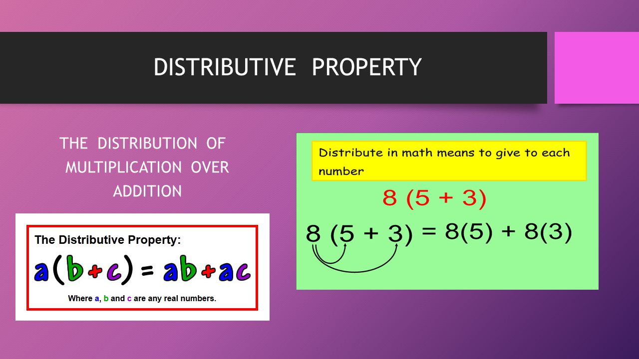 DISTRIBUTIVE PROPERTY THE DISTRIBUTION OF MULTIPLICATION OVER ADDITION