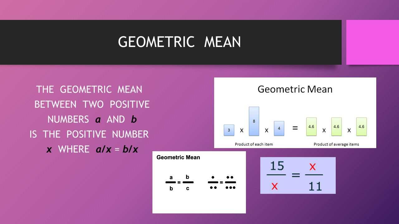 GEOMETRIC MEAN THE GEOMETRIC MEAN BETWEEN TWO POSITIVE NUMBERS a AND b IS THE POSITIVE NUMBER x WHERE a/x = b/x
