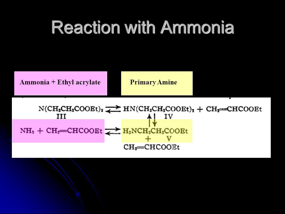 Reaction with Ammonia Ammonia + Ethyl acrylate Primary Amine