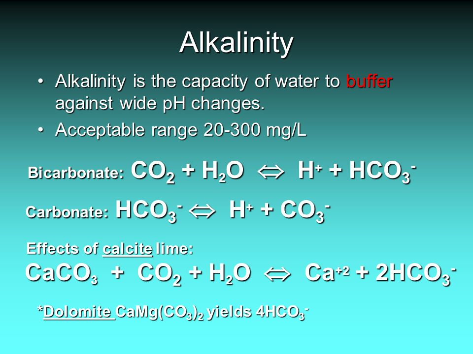 Alkalinity Alkalinity is the capacity of water to buffer against wide pH changes.Alkalinity is the capacity of water to buffer against wide pH changes.