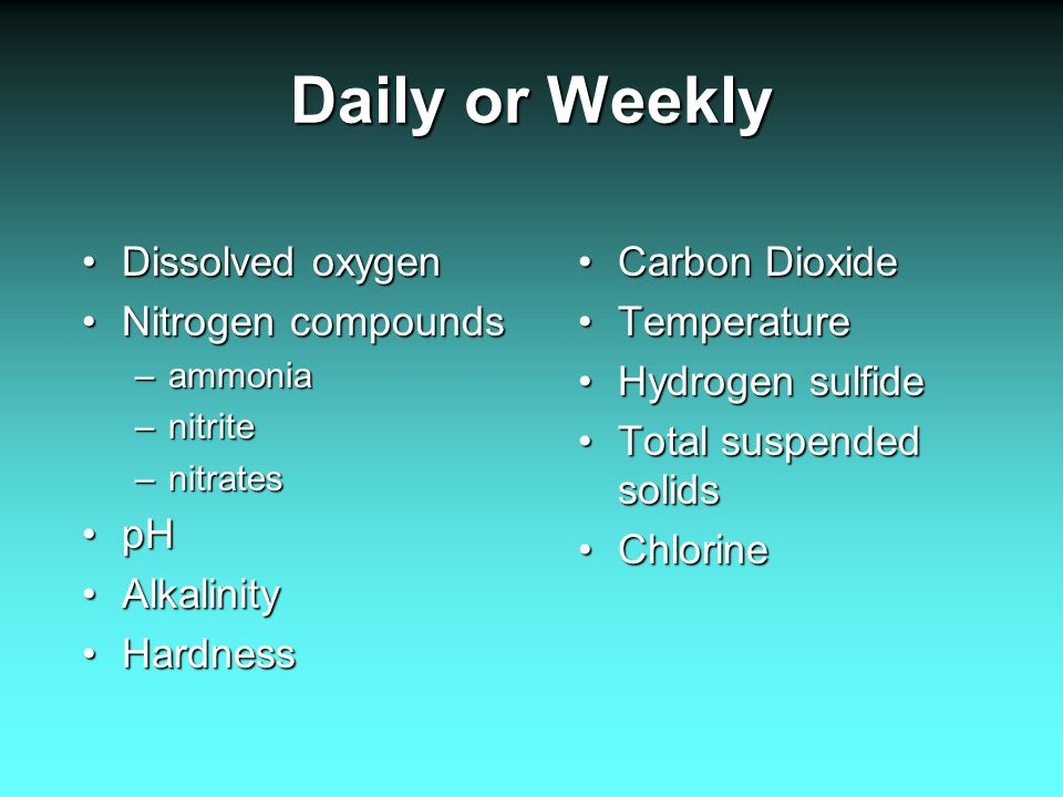Daily or Weekly Dissolved oxygenDissolved oxygen Nitrogen compoundsNitrogen compounds –ammonia –nitrite –nitrates pHpH AlkalinityAlkalinity HardnessHardness Carbon DioxideCarbon Dioxide TemperatureTemperature Hydrogen sulfideHydrogen sulfide Total suspended solidsTotal suspended solids ChlorineChlorine