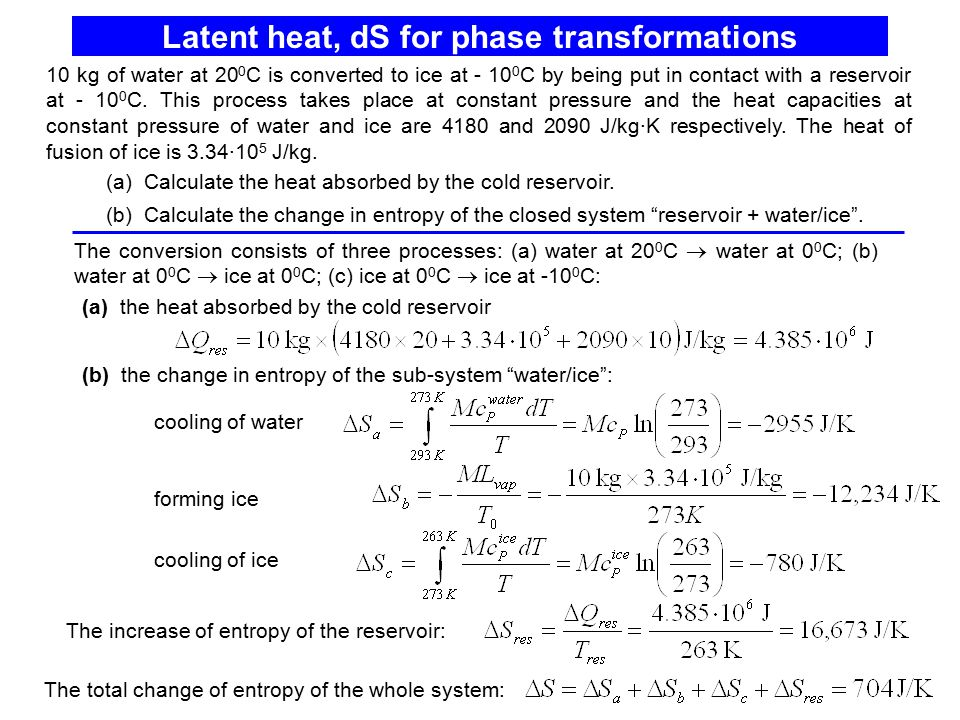 Latent heat, dS for phase transformations The increase of entropy of the reservoir: The conversion consists of three processes: (a) water at 20 0 C 