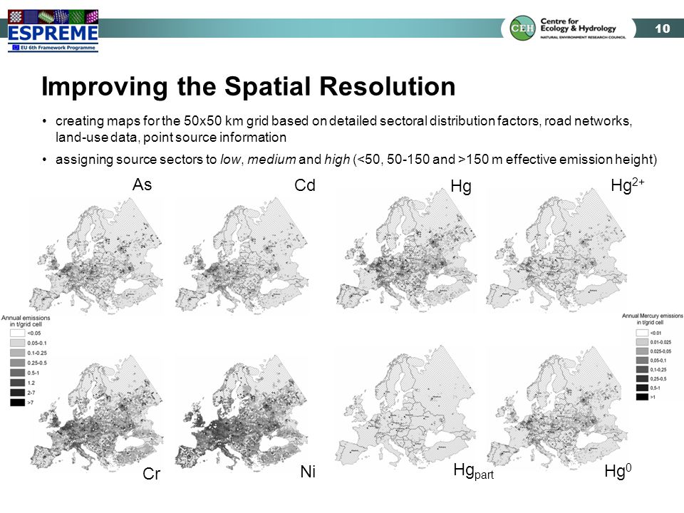 10 Improving the Spatial Resolution creating maps for the 50x50 km grid based on detailed sectoral distribution factors, road networks, land-use data,
