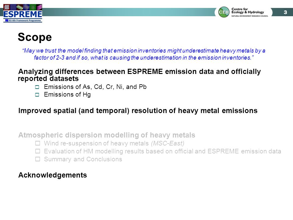 3 Scope Analyzing differences between ESPREME emission data and officially reported datasets  Emissions of As, Cd, Cr, Ni, and Pb  Emissions of Hg I