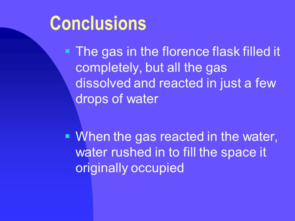 Conclusions  The gas in the florence flask filled it completely, but all the gas dissolved and reacted in just a few drops of water  When the gas reacted in the water, water rushed in to fill the space it originally occupied