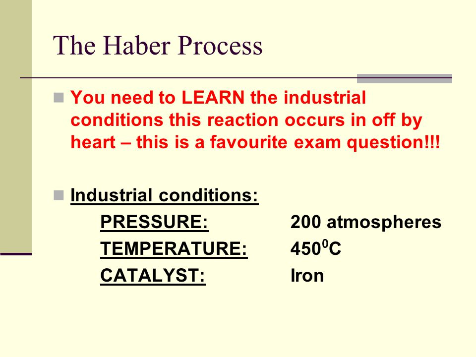 You need to LEARN the industrial conditions this reaction occurs in off by heart – this is a favourite exam question!!.