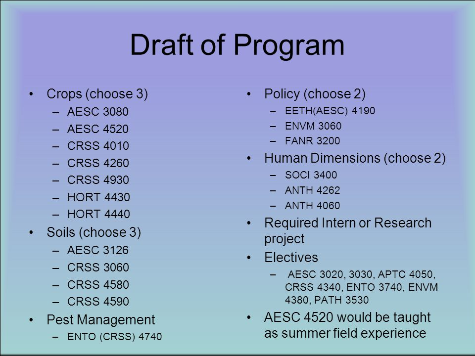 Draft of Program Crops (choose 3) –AESC 3080 –AESC 4520 –CRSS 4010 –CRSS 4260 –CRSS 4930 –HORT 4430 –HORT 4440 Soils (choose 3) –AESC 3126 –CRSS 3060
