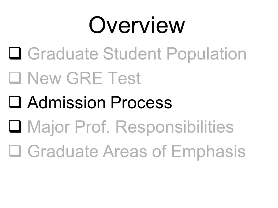 Overview  Graduate Student Population  New GRE Test  Admission Process  Major Prof. Responsibilities  Graduate Areas of Emphasis