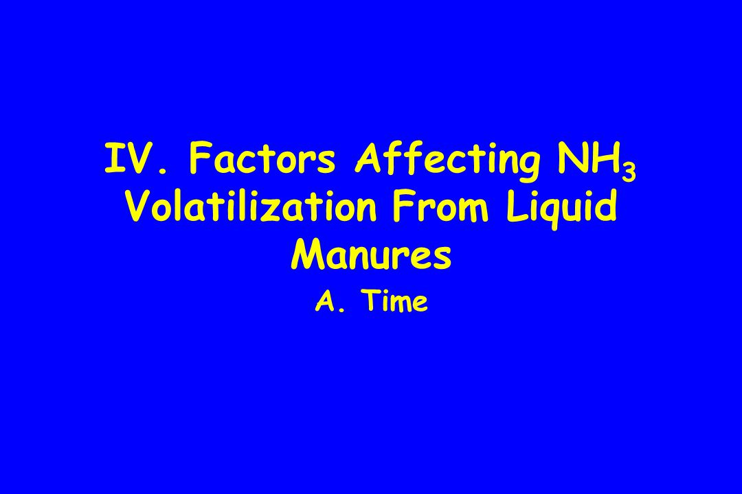 IV. Factors Affecting NH 3 Volatilization From Liquid Manures A. Time