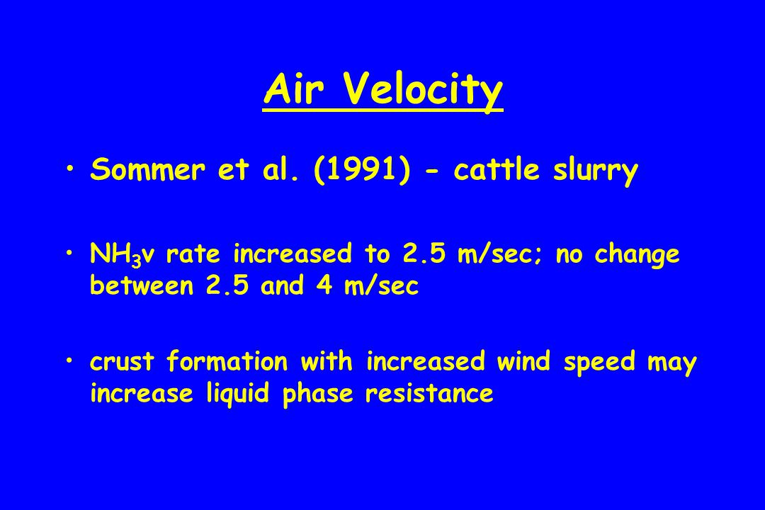 Air Velocity Sommer et al. (1991) - cattle slurry NH 3 v rate increased to 2.5 m/sec; no change between 2.5 and 4 m/sec crust formation with increased