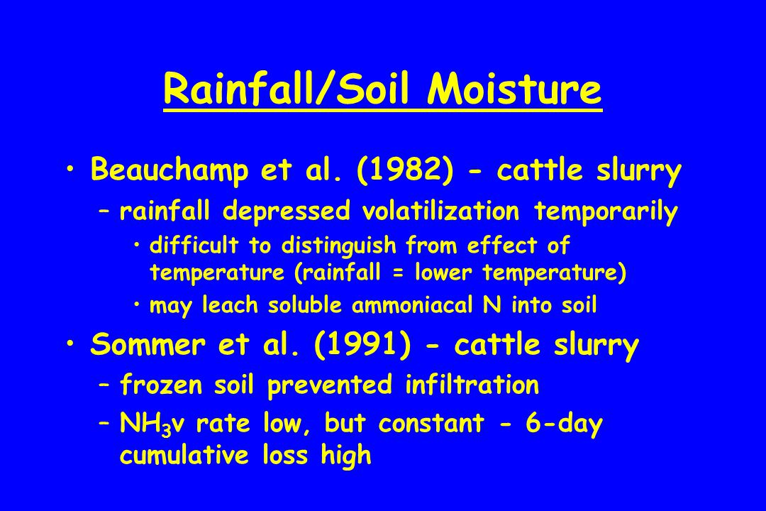 Rainfall/Soil Moisture Beauchamp et al. (1982) - cattle slurry –rainfall depressed volatilization temporarily difficult to distinguish from effect of