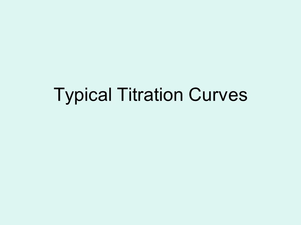 Typical Titration Curves