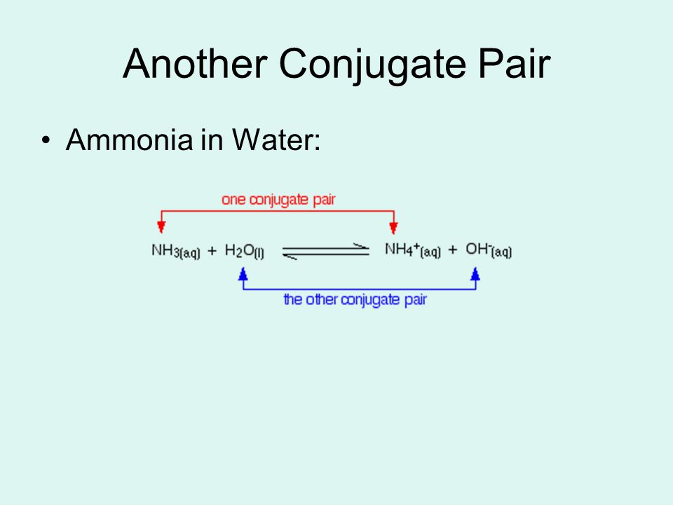 Another Conjugate Pair Ammonia in Water: