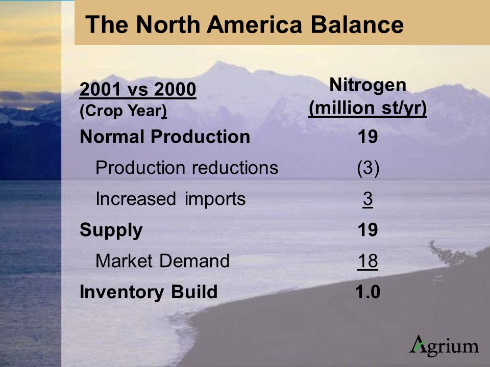 2001 vs 2000 (Crop Year) Nitrogen (million st/yr) Normal Production19 Production reductions(3) Increased imports3 Supply19 Market Demand18 Inventory Build1.0 The North America Balance