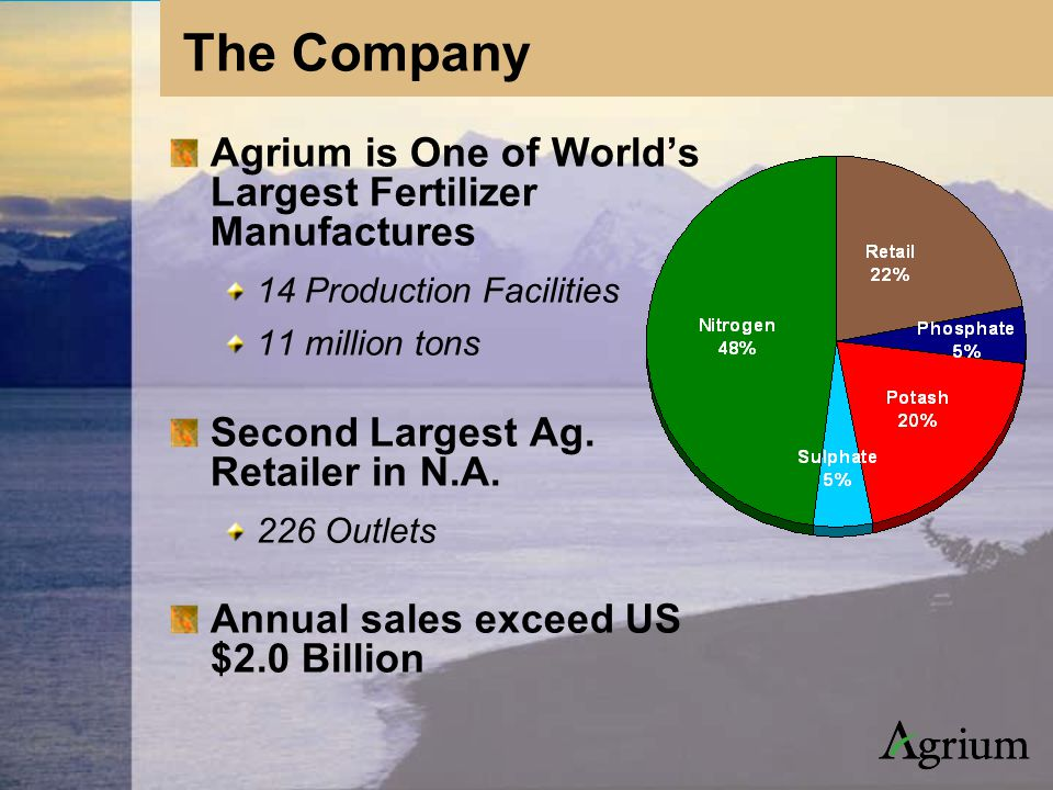 Agrium is One of World's Largest Fertilizer Manufactures 14 Production Facilities 11 million tons ( Second Largest Ag.