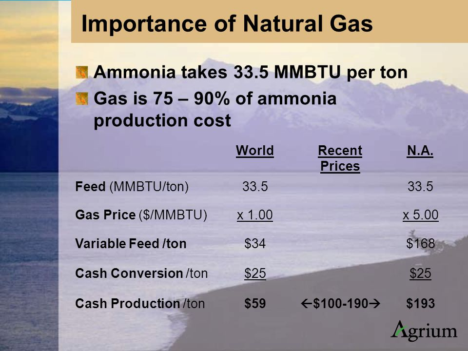 Ammonia takes 33.5 MMBTU per ton Gas is 75 – 90% of ammonia production cost WorldRecent Prices N.A.