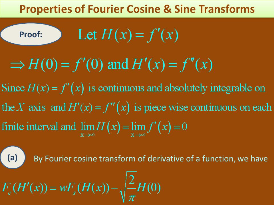 Proof: By Fourier cosine transform of derivative of a function, we have (a)
