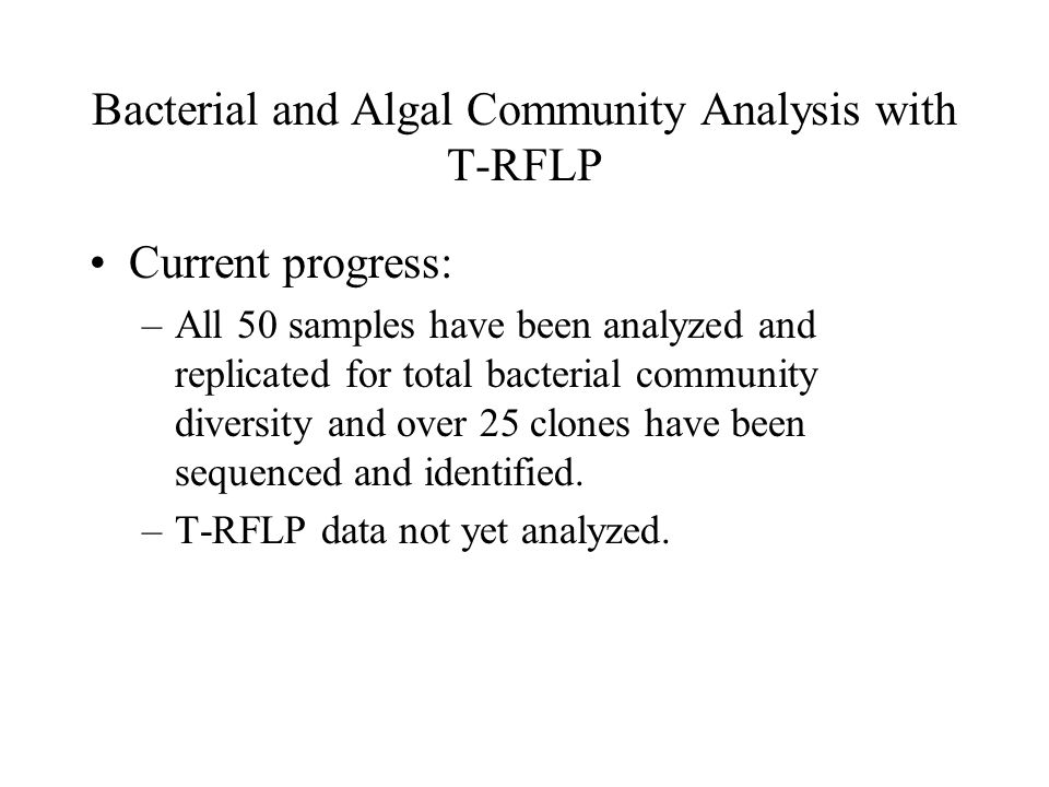 Bacterial and Algal Community Analysis with T-RFLP Current progress: –All 50 samples have been analyzed and replicated for total bacterial community diversity and over 25 clones have been sequenced and identified.