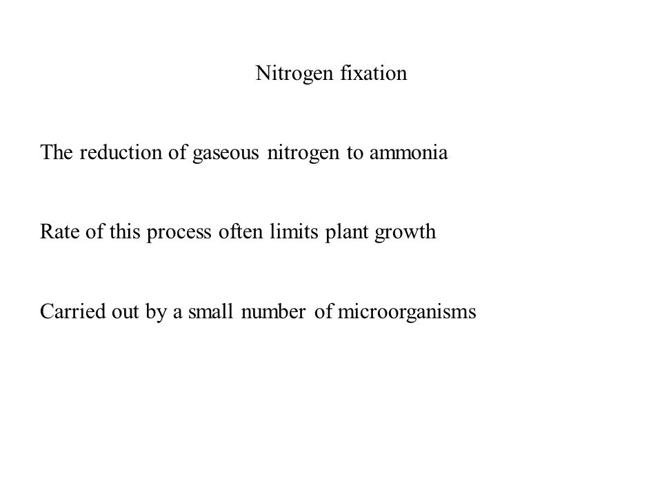 Nitrogen fixation The reduction of gaseous nitrogen to ammonia Rate of this process often limits plant growth Carried out by a small number of microorganisms