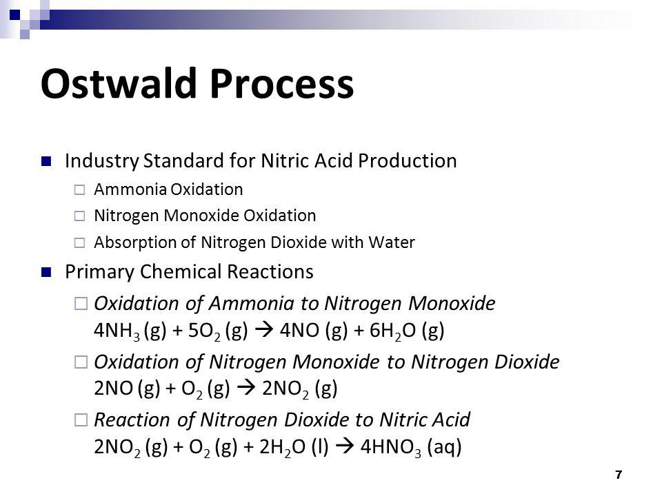 7 Ostwald Process Industry Standard for Nitric Acid Production  Ammonia Oxidation  Nitrogen Monoxide Oxidation  Absorption of Nitrogen Dioxide with