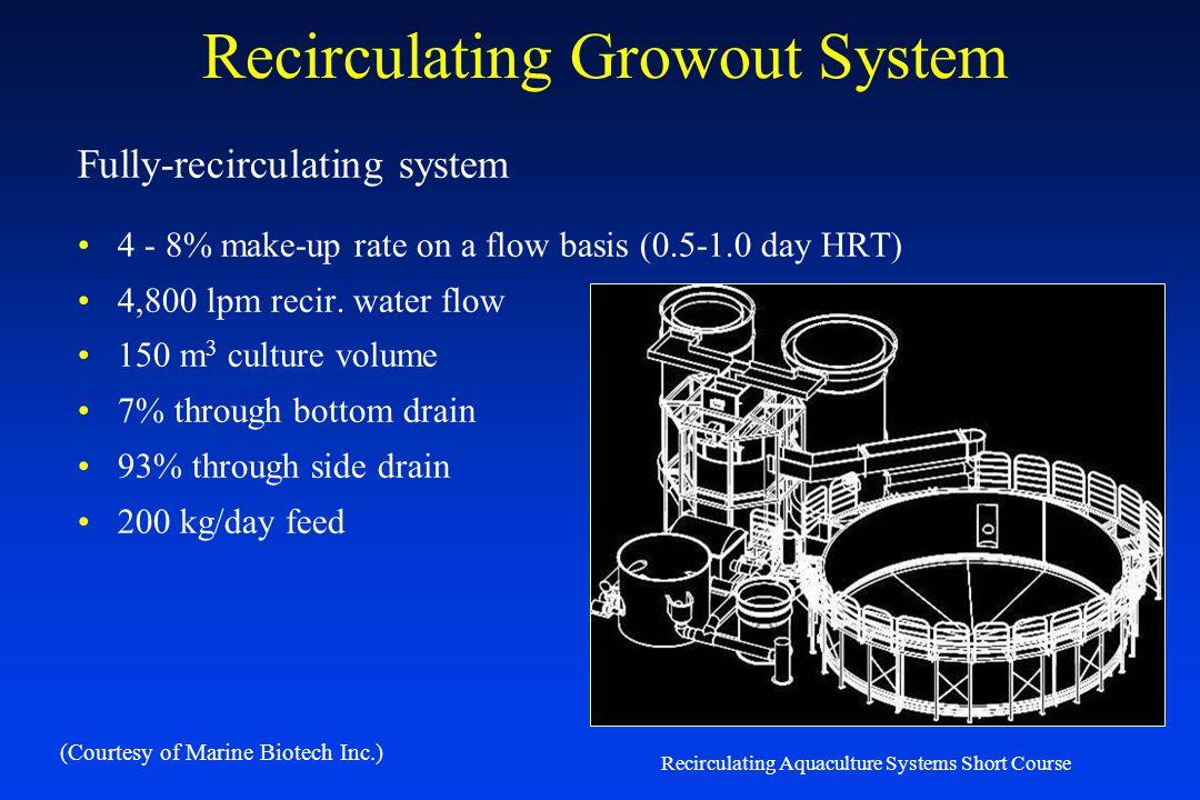 Recirculating Aquaculture Systems Short Course Quantity – Fully Recirculated Systems Fully Recirculating Systems Circulation Production Tanks – Dual D