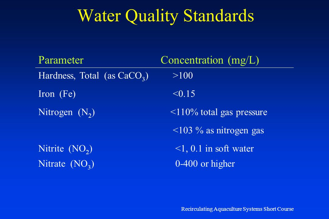 Recirculating Aquaculture Systems Short Course Water Quality Standards ParameterConcentration (mg/L) Alkalinity (as CaCO 3 ) 50-300 Ammonia (NH 3 -N u