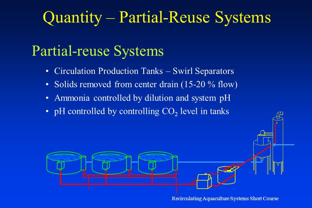 Recirculating Aquaculture Systems Short Course Quantity – Serial-reuse Systems Serial-reuse Systems Trout and Salmonid raceways Limiting Factor – Diss