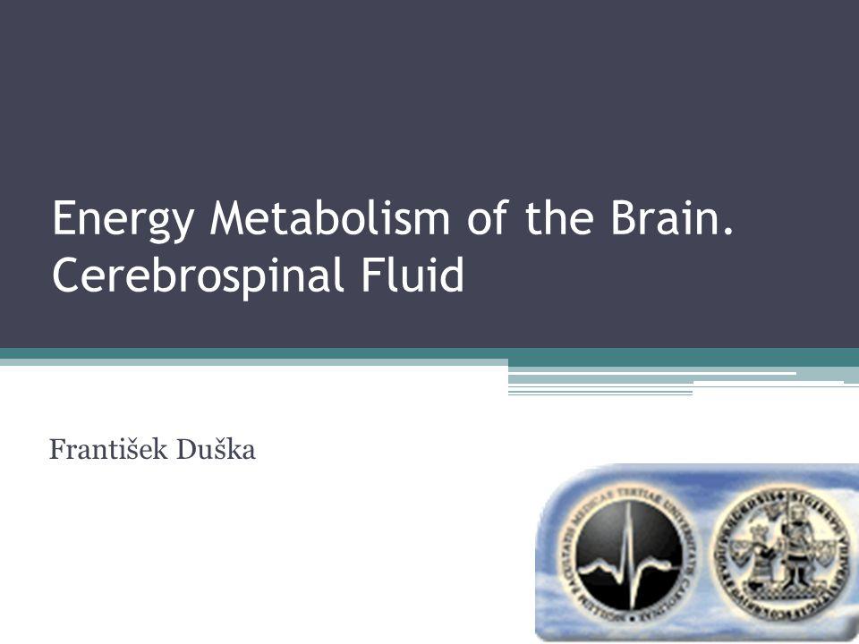 Energy Metabolism of the Brain. Cerebrospinal Fluid František Duška