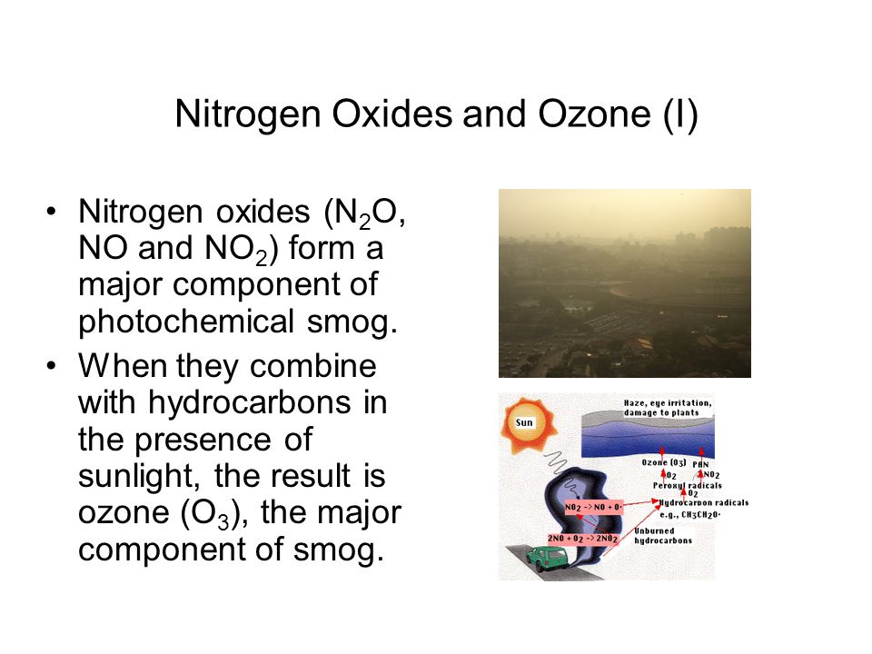 Nitrogen Oxides and Ozone (I) Nitrogen oxides (N 2 O, NO and NO 2 ) form a major component of photochemical smog. When they combine with hydrocarbons