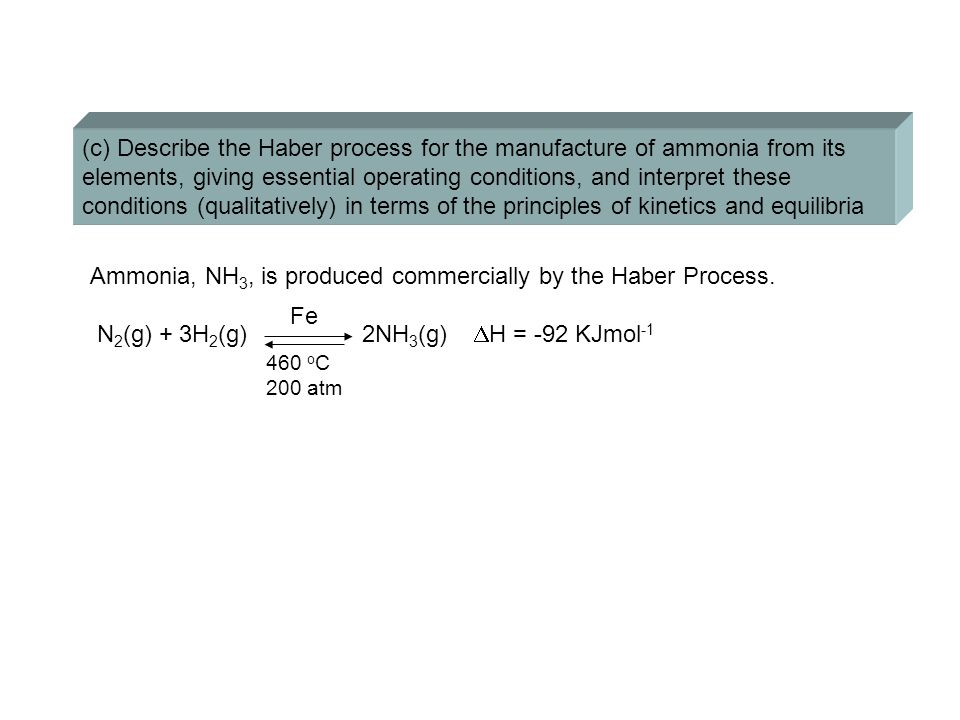 (c) Describe the Haber process for the manufacture of ammonia from its elements, giving essential operating conditions, and interpret these conditions (qualitatively) in terms of the principles of kinetics and equilibria Ammonia, NH 3, is produced commercially by the Haber Process.