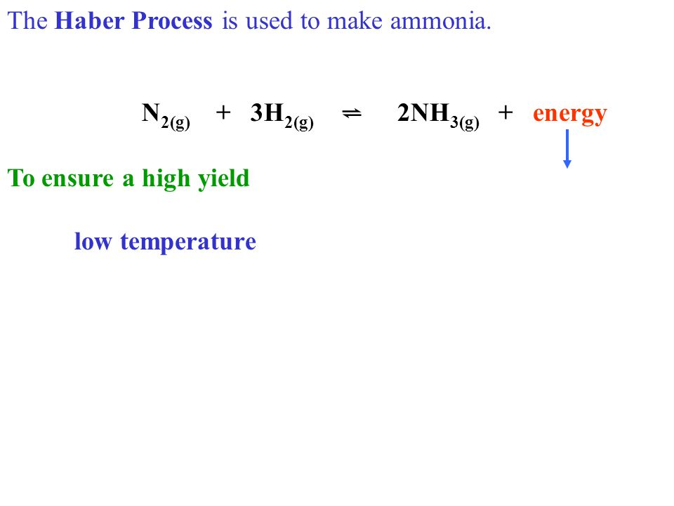 N 2 O 4(g) ⇋ 2NO 2(g) + 59 KJ Describe four ways of increasing the yield. low temperature