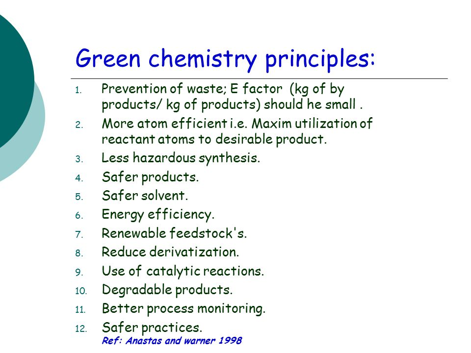 Green chemistry principles: 1.