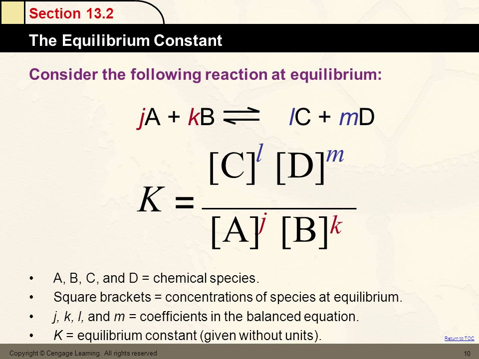 Section 13.2 Atomic MassesThe Equilibrium Constant Return to TOC Copyright © Cengage Learning. All rights reserved 10 Consider the following reaction