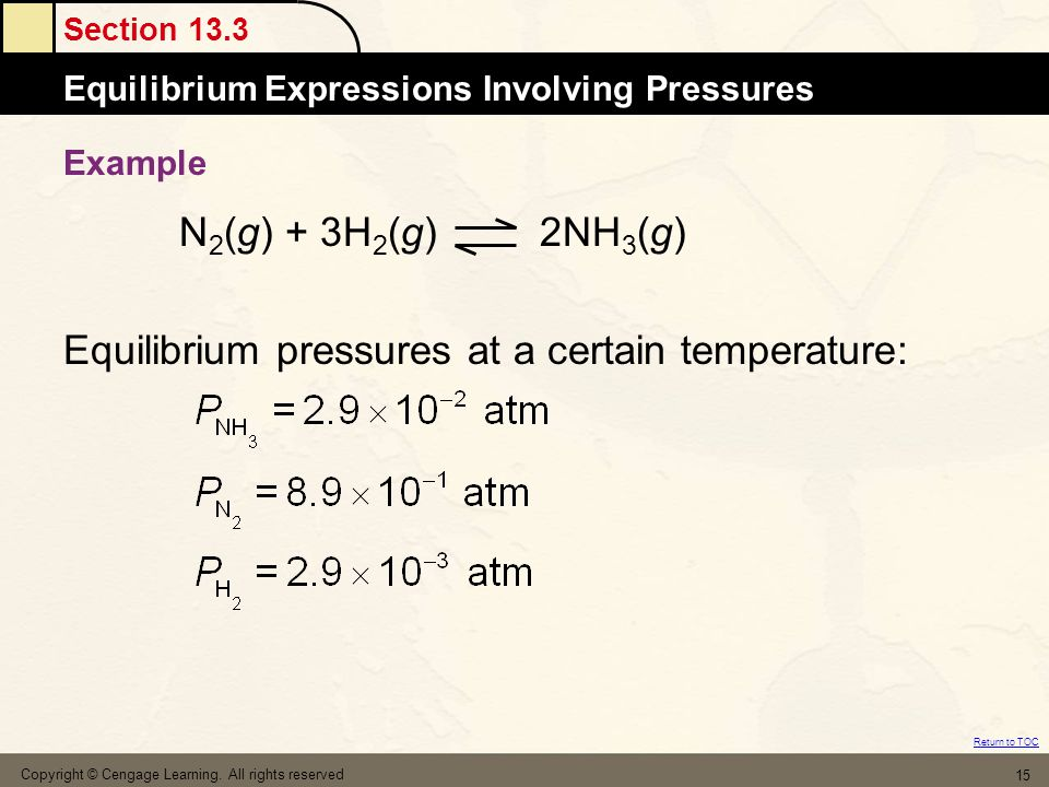 Section 13.3 The MoleEquilibrium Expressions Involving Pressures Return to TOC Copyright © Cengage Learning. All rights reserved 15 Example N 2 (g) +