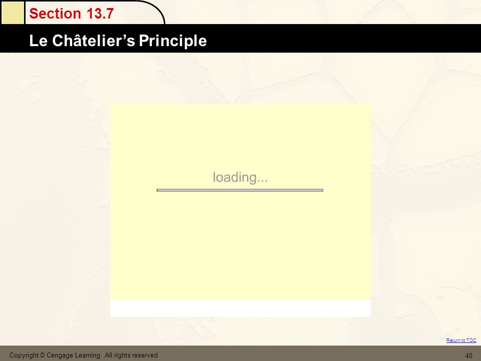 Section 13.7 Le Châtelier's Principle Return to TOC Copyright © Cengage Learning. All rights reserved 40